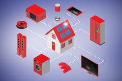 Den sammansatta bilden av datoren frambragte bild av den hem- symbolen och anordningar 3d Royaltyfri Foto
