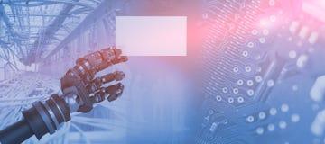 Den sammansatta bilden av datoren frambragte bild av det robotic vita plakatet 3d för arminnehavet Arkivfoton