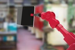 Den sammansatta bilden av den digitalt frambragda bilden av den digitala minnestavlan rymde vid maskinen 3d Fotografering för Bildbyråer