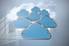 Den sammansatta bilden av den digitalt frambragda bilden av molnet formar 3d Royaltyfri Fotografi