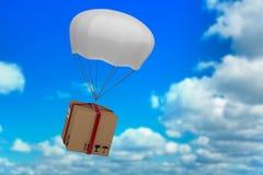 Den sammansatta bilden av den grafiska bilden av 3d hoppa fallskärm den bärande jordlotten Royaltyfria Bilder