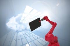 Den sammansatta bilden av den grafiska bilden av den digitala minnestavlan rymde vid den röda roboten 3d Arkivbilder