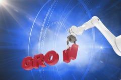 Den sammansatta bilden av den sammansatta bilden av den robotic armen som ordnar, växer 3d Arkivfoto