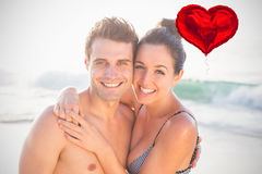 Den sammansatta bilden av par sätter på land och den röda hjärtaballongen 3d Arkivfoto