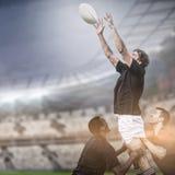 Den sammansatta bilden av rugby fläktar i arena och 3d Fotografering för Bildbyråer