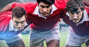 Den sammansatta bilden av rugby fläktar i arenan 3d Royaltyfria Bilder