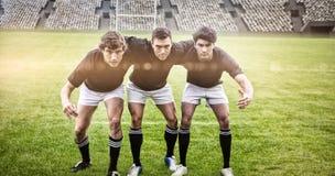 Den sammansatta bilden av rugby fläktar i arenan 3d Arkivfoton