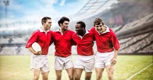 Den sammansatta bilden av rugby fläktar i arenan 3d Arkivbild