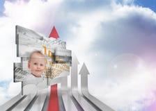 Den sammansatta bilden av snille behandla som ett barn på den abstrakta skärmen Arkivfoton