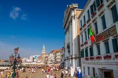 Den San Marco plazaen Venedig Fotografering för Bildbyråer