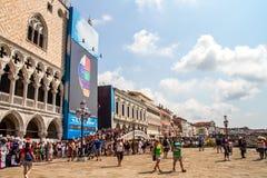 Den San Marco plazaen Venedig Arkivfoto
