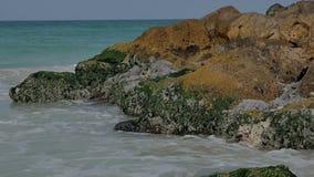 Den sandiga kusten för havet med färgstänk av vågor på vaggar stock video