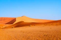 Den sandiga orange dyn under blå klar himmel i den Namib öknen Naukluft parkerar Sossusvlei, Namibia, Sydafrika arkivfoto