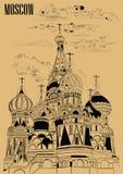 Den Sanka basilikadomkyrkan av KremlMoskva, Ryssland isolerade illustrationen för vektorhandteckningen i svart färg på beige bakg stock illustrationer