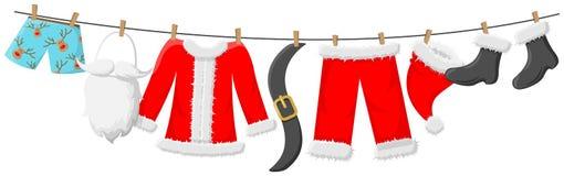 Den Santa Claus dräkten som hänger på koppellinje, isolerade vektorn royaltyfri illustrationer