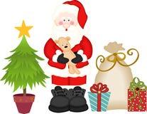 Den Santa Claus gåvapåsen och sörjer royaltyfri illustrationer
