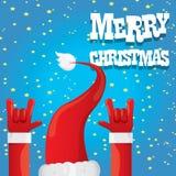 Den Santa Claus handen vaggar illustrationen för n-rullvektorn royaltyfri illustrationer