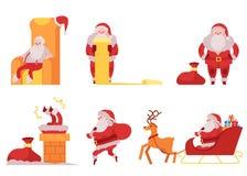 Den Santa Claus vektorillustrationen ställde in - olika platser med symbol för jul och för nytt år i den röda dräkten som ger gåv royaltyfri illustrationer