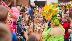 Den SANTA CRUZ SPANIEN karnevalet ståtar 2013 Arkivbilder