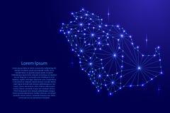 Den Saudiarabien översikten av polygonal mosaiklinjer knyter kontakt, strålar, utrymmestjärnor stock illustrationer
