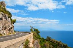 Den sceniska Amalfi kustvägen Fotografering för Bildbyråer