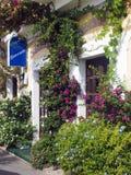 Den sceniska byggnadsframdelen blommar Monterosso Cinque Terre Italy Euro Royaltyfri Fotografi