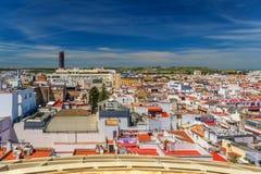 Den sceniska sikten av Seville från Sevillen plocka svamp den Metropol slags solskydd, Seville, Andalusia, Spanien royaltyfri fotografi