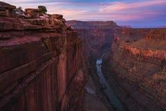 Den sceniska sikten av Toroweap förbiser på solnedgången i den norr kanten, tusen dollar Arkivbilder