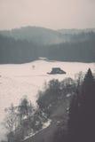 Den sceniska vintern färgade floden i landet - retro tappning Fotografering för Bildbyråer