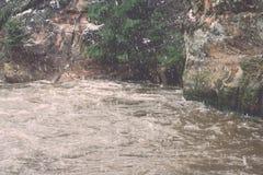 Den sceniska vintern färgade floden i landet - retro tappning Royaltyfri Foto
