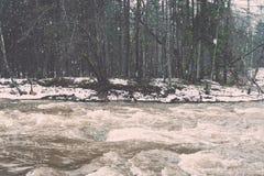 Den sceniska vintern färgade floden i landet - retro tappning Royaltyfri Bild