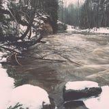 Den sceniska vintern färgade floden i landet - retro tappning Royaltyfria Bilder