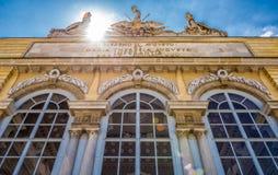 Den Schonbrunn slottträdgården Gloriette i Wien Arkivbild