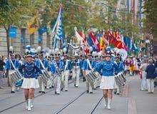 Den schweiziska nationella dagen ståtar i Zurich Royaltyfri Fotografi