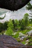 Den schweiziska stenen sörjer och för den Norge granen skogen Arkivbilder