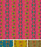 Den Seamless abstrakt begrepp mönstrar. Uppsättningen av fyra, rosa färg slösar brunt Arkivfoto