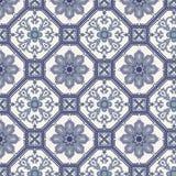 Den seamless arabesquen mönstrar i blått och grå färg Arkivfoto