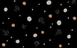 Den seamless blomman mönstrar Vektor för mode för bakgrund för svart för garnering för tryck för textil för fältörttusensköna tra royaltyfri illustrationer