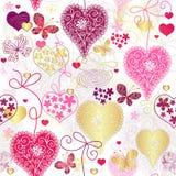 Den Seamless brokiga valentinen mönstrar Arkivbild