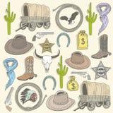 Den seamless cowboyen mönstrar royaltyfri illustrationer