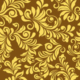Den Seamless guld- blom- wallpaperen mönstrar Arkivbilder