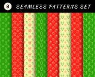 Den Seamless julen mönstrar uppsättningen geometriska texturer abstrakt bakgrunder Royaltyfria Foton