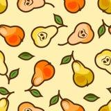 Den seamless pearen mönstrar vektor illustrationer