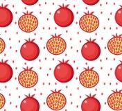 Den seamless pomegranaten mönstrar Ändlös bakgrund för granatröttfrukt, textur Bär fruktt bakgrund också vektor för coreldrawillu Arkivbild