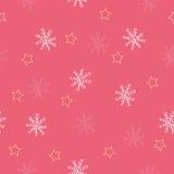 Den Seamless snowflaken och stjärnan mönsan röd bakgrund Arkivfoto