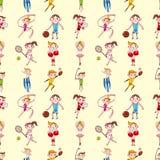 Den Seamless sportspelare mönstrar royaltyfri illustrationer
