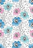Den Seamless textilen blommar bakgrund vektor illustrationer
