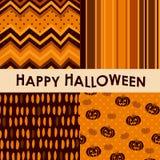 Den seamless uppsättningen av halloween mönstrar Arkivfoton