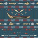 Seamless indiskt fiske - mönstra Royaltyfri Bild