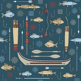 Seamless mönstra av indiskt fiske Royaltyfria Foton